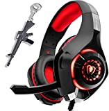 Gaming Headset for New Xbox One PS4 PC Laptop Tablet with Mic, Over Ear Headphones, Noise Canceling, Stereo Bass Surround for Kids Mac Smartphones Cellphone … (red)