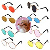 8 Pcs Cute Small Cats Dogs Sunglasses Retro Round Metal Prince Sunglasses Set Funny Cosplay Glasses Toys Photos Props Accessories (8 Pack Color Mix)