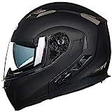 ILM Bluetooth Integrated Modular Flip up Full Face Motorcycle Helmet Sun Shield 6 Riders Group Intercom Mp3 (M, Matte Black)