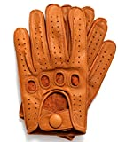 Riparo Genuine Leather Reverse Stitched Driving Gloves (Medium, Cognac)