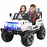 angstep 2 Seater Kids Electric Car, 12v Battery Car for Kids w/2.4G Remote Control, Spring Suspension, LED Lights, Horn, Bumper Guard, Openable Doors White