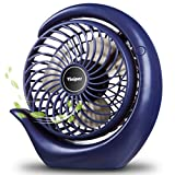 viniper Battery Operated Fan, USB Desk Fan : 180° Rotation and 3 Speeds Strong Wind Portable Quiet Fan, Optimised Battery & Longer Working Hours, Small but Mighty, Strong Cooling (6.2 inch, Navy Blue)