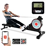 SereneLife Magnetic Rowing Machine with Bluetooth App Fitness Tracking – Foldable Home Gym Exercise Rower with Adjustable Resistant, Easy-Glide Padded Seat, Digital LCD Readout and Reinforced Cable