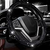 Valleycomfy Steering Wheel Cover for Women Bling Bling Crystal Diamond Sparkling Car SUV Wheel Protector Universal Fit 15 Inch (Black with Black Diamond, Standard Size(14' 1/2-15' 1/4))