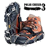 Uelfbaby Upgraded 19 Spikes Crampons Ice Snow Grips Traction Cleats System Safe Protect for Walking, Jogging, or Hiking on Snow and Ice (Fit S/M/L/XL/XXL Shoes/Boots)