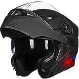 ILM Bluetooth Motorcycle Helmet Modular Flip up Full Face Dual Visor Mp3 Intercom FM Radio DOT Approved (Matte Black, XL)