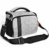 FOSOTO Compact SLR/DLSR Stylish Camera Bag Case Compatible for Nikon P900 B500 D3500 D5600, Canon EOS T6 T7i T5, Sony A6000 A73 Mirrorless Camera Shoulder Case Waterproof Rain Cover (Gray)