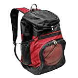 Xelfly Basketball Backpack with Ball Compartment – Sports Equipment Bag for Soccer Ball, Volleyball, Gym, Outdoor, Travel, School, Team – 2 Bottle Pockets, Includes Laundry or Shoe Bag – 25L (Red)