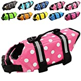 Dog Life Jacket Easy-Fit Adjustable Belt Pet Saver Swimming Safety Swimsuit Preserver with Reflective Stripes for Doggie (XS, Speckle and Pink)