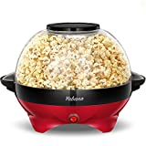 Popcorn Machine, 6-Quart Popcorn Popper maker, Nonstick Plate, Electric Stirring with Quick-Heat Technology, Cool Touch Handles