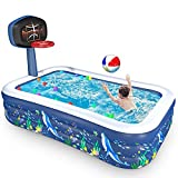 Inflatable Swimming Pools, Family Full-Sized Inflatable Pools, 118' x 72' x 22' Blow Up Kiddie Pool for Kids, Adults, Babies, Toddlers, Outdoor, Garden, Backyard