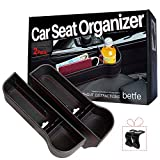 betfe Car Seat Gap Filler, 2 Pack PU Leather Car Seat Organizers with Cup Holder for Cell Phones, Glasses, Keys, Wallet, Change Etc.