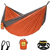 Wise Owl Outfitters Camping Hammocks - Portable Hammock Single or Double Hammock for Outdoor, Indoor w/ Tree Straps - Backpacking, Travel, and Camping Gear, Orange & Grey (Double)