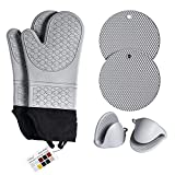 Velusa Oven Mitts - Silicone, Extra Long and Slip Resistant - Includes Mini Oven Mitts and Hot Pads - Perfect for Kitchen, Baking Cooking, Protecting Hands - Gray