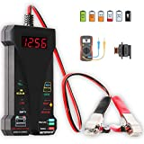 MOTOPOWER MP0514A 12V Digital Car Battery Tester Voltmeter and Charging System Analyzer with LCD Display and LED Indication - Black Rubber Paint