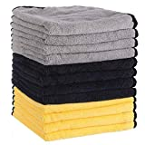 MATCC Microfiber Cleaning Cloths 12 Pack 16'' x 16'' Premium Microfiber Towels for Cars Detailing Or Drying Towels for Cleaning Car Windows Dishes