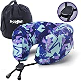 NAPFUN Travel Neck Pillow, 100% Pure Memory Foam Neck Pillow for Traveling & Airplane Neck Pillow for Flight Sleep, Purple Print