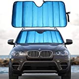MCBUTY Windshield Sun Shade for Car Blue Thicken 5-Layer UV Reflector Auto Front Window Sunshade Visor Shield Cover and Keep Your Vehicle Cool(55' × 27.5')