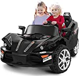 BAHOM 2 Seats Kids Ride On Car, 12V Kids Electric Vehicle with Remote Control, Manual/Parental Modes, Light/MP3/Volume Control