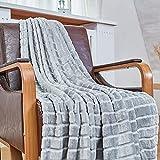 Bertte Throw Blanket Super Soft Cozy Warm Blanket 330 GSM Lightweight Luxury Fleece Blanket for Bed Couch- 50'x 60', Smoke Grey