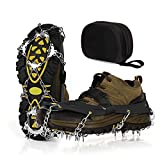 Unigear Ice Cleats, Snow Traction Cleats Crampons for Shoes and Boots with 19 Stainless Steel Spikes for Walking, Hiking, Fishing and Climbing (Black, Large)