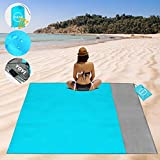 YOYI Sand Free Beach Blanket 210T Polyester,Beach Mat Waterproof Sandproof for 3-7 Adults, Oversized 55'' x 69'' Lightweight Pocket Blanket for Travel, Camping, Hiking, Music Festivals (Blue 55x69)