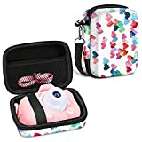 Fintie Kids Camera Case Hard EVA Bag with Inner Pocket Removable Strap, Gifts for 3-10-Year-Old Girl Boy, Compatible with Seckton/GKTZ/WOWGO/OMZER/Suncity Toys Digita Cameral (Raining Hearts)