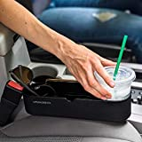 UpgradeWith Universal Seat Side Leather Car Cup Holder | Portable Multifunctional Car Seat Cup Mount Stand | Mobile Phone, Drinks, Keys, Wallet Storage Organizer for Car | Black