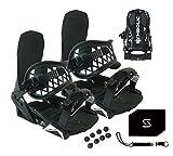 Symbolic Custom-Flow Black Snowboard Bindings & Leash & Stomp Pad Large-XL (Black, Large-XL Men (Fits 9-14))