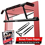 IRON AGE Pull Up Bar for Doorway - Angled Grip Home Gym Exercise Equipment - Pullupbar with Shortened Upper Bar and Bonus Suspension Straps(Fits Almost All Doors)