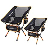 Camping Chair, Ultralight Portable Folding Sportneer Backpacking Chair, Compact and Heavy Duty Outdoors, BBQ, Beach, Travel, Picnic with 2 Storage Bags and Carry Bag, Height Adjustable