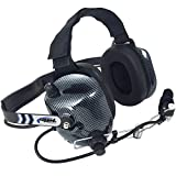 Rugged Radios H41-CF Carbon Fiber Behind The Head Two Way Radio Headset with Volume Control Knob and 3.5mm Input Jack for Music / MP3 Players