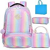 Kids School Rainbow Glitter Backpack with Lunch Bag Girls Preschool Backpack 3 in 1 School Bag Set Daypack Bookbag (Bling Set)
