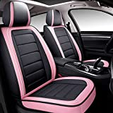 BABYBLU Leather Car Seat Covers Full Set for Women,Men,Water Proof Synthetic Leather for Cars SUV Pick-up Truck Universal Fit Set for Auto Interior Accessories(Airbag Compatible) (Pink)