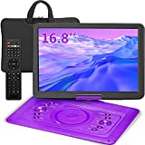 Portable DVD Player 16.8' with 14.1' HD Large Swivel Display Screen, 7 Hours Built-in Rechargeable Battery, Support USB, Sync TV and Multiple Disc Formats, High Volume Speaker (16.8)