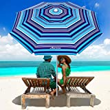 MOVTOTOP Beach Umbrella, 6.5ft Beach Umbrella with Sand Anchor & Tilt Mechanism, Portable UV 50+ Protection Beach Umbrella with Carry Bag for Patio Garden Beach Outdoor (Dark Blue/Blue Stripe)