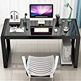 Jerry & Maggie - Tempered Glass Computer Desk Strength Sturdy Surface Laptop Desk Dinning Cocktail Table USB Accessory Attribute Professional Office Desk Modern Plain Legs Personal Workstation Black