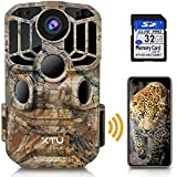 【2021 Upgraded】XTU WiFi Trail Camera, Hunting Camera 24MP 1296P HD Game Deer camera with Infrared Night Vision Motion Activated Waterproof for Wildlife Monitoring, 32GB SD Card Included, Easy Install