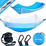 HAHASOLE Camping Hammock with Mosquito Net - Includes Tree Straps & Carabiners - Ripstop Nylon Lightweight & Portable Travel Bed Set with Bug Net for Hiking Backpacking Beach, Easy Setup Outdoor Gear