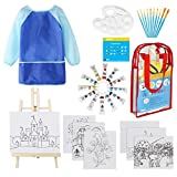 Kids Art Set 33 Piece Acrylic Paint Kit Includes Non Toxic Paint, Tabletop Easel, Paint Brushes, Painting Canvas, Art Smock and More Art Supplies