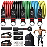 RENRANRING Resistance Bands Set, Exercise Bands with Stackable Workout Bands, Door Anchor Attachment, Handles, Legs Ankle Straps, Carry Bag for Fitness