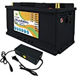 FLYPOWER 12V 100Ah Lifepo4 lithium batteries Up to 7000 Deep Cycles for Golf Cart Solar RV Camper Marine Battery and More Applications Include 10A Charger
