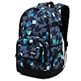 Ricky-H Style School Backpack for Lifestyle Travel Bag for Men & Women, Geometry Grey/Blue (Ric013108)