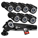 XVIM 8CH 1080P Security Camera System Outdoor with 1TB Hard Drive Pre-Install CCTV Recorder 8pcs HD 1920TVL Outdoor Home Security Surveillance Cameras Night Vision Easy Remote Access Motion Alert