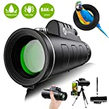 Monocular Telescope - 12X50 High Definition FMC BAK4 HD Monocular 【Day & Low Night Vision】 with Smartphone Holder & Tripod IPX7 Waterproof & Eco-Friendly Materials for Bird Watching, Camping