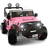 2021 Two (2) Seater Ride On Kids Car Truck w/ Remote   Large 12V Battery Licensed Kid Car to Drive 3 Speeds, Leather Seat, MP3 Music by Bluetooth, FM Radio, Rubber Tires (Pink)