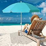 MEWAY 6.5ft Beach Umbrella with Sand Anchor & Tilt Mechanism, Portable UV 50+ Protection,Outdoor Sunshade Umbrella with Carry Bag,for Garden Beach Outdoor (Sky Blue)