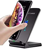 OneCut Qi-Certified 10w Fast Wireless Charger Charging Stand for Samsung Galaxy S21+   S21 Ultra 5G   S20   S10   S10e   S9   S8   S7   S6 Edge   Note 20/10 / 9/8 / Z Flip(Black)