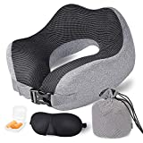Travel Pillow Memory Foam Neck Pillow, Upgrade Design Perfect Support Airplane Pillow with Machine Washable Pillowcase, Adjustable Airplane Travel Pillow with 3D Sleep Masks, Earplugs and Bag