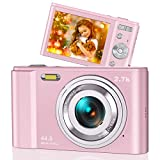 44MP Small Digital Camera for Photography Beginners, 2.7K Vlogging Camera 2.88' IPS 16X Digital Zoom Point and Shoot Camera for Kids Teens Christmas,Thanksgiving Days,Birthdays Gift (Pink)
